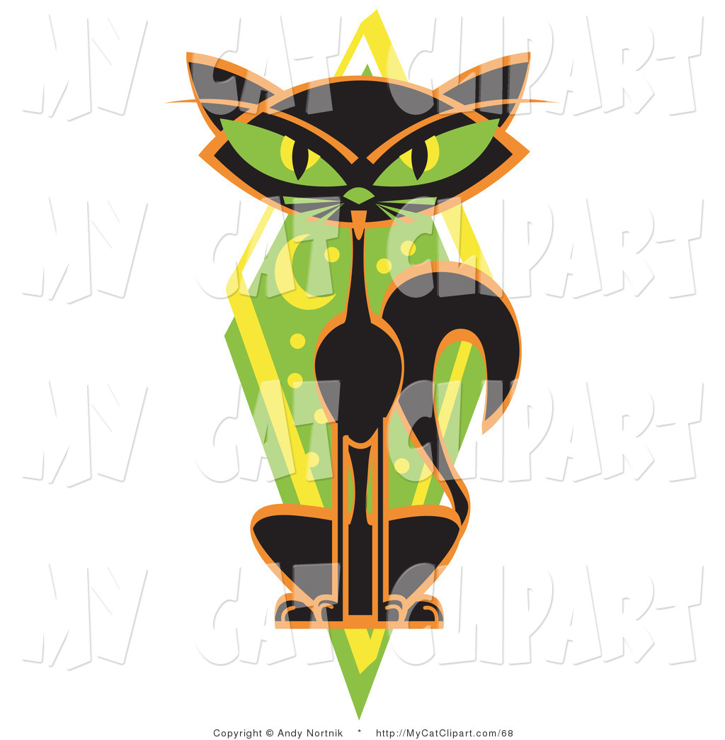 1024x1044 Clip Art Of A Halloween Thin Black Cat Sitting In Front Of A Green