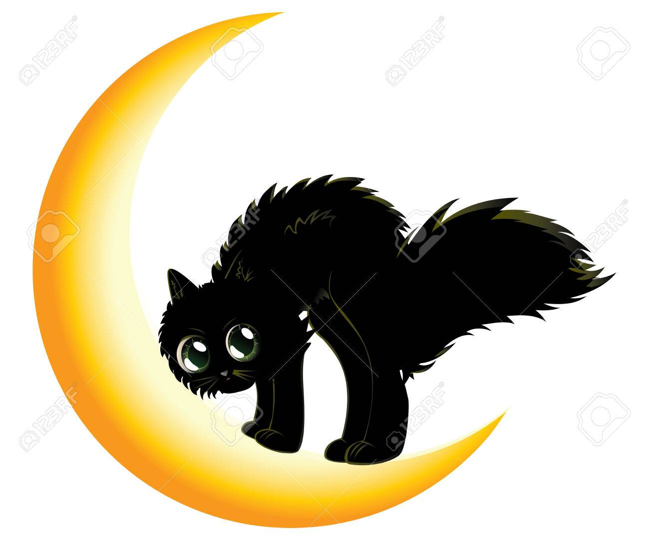1300x1083 Cute Cartoon Black Kitten On Crescent Moon. Royalty Free Cliparts