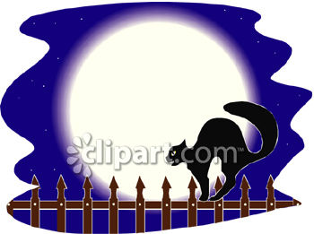 350x261 A Black Cat Walking On An Iron Fence In Front Of A Full Moon