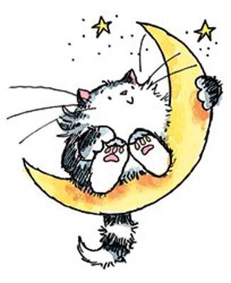 326x400 Penny Black Rubber Stamp Cat On The Moon Penny Black, Moon And Cat
