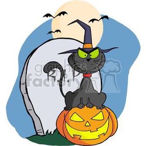 300x300 Royalty Free 3226 Halloween Cat On Pumpkin Near Tombstone And Bats