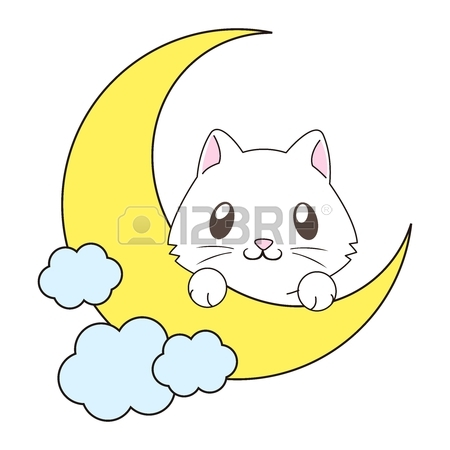 450x450 Vector Cute Cartoon Cat On The Moon Illustration Royalty Free