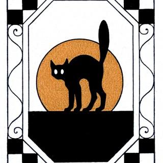 320x320 Black Cat Clipart Moon