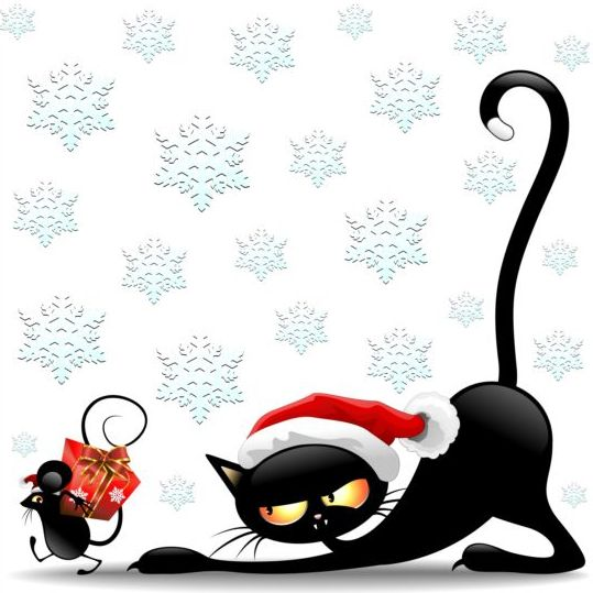 539x539 Christmas Cats And Mouse Cartoon Vector Its Christmas !!! Clip