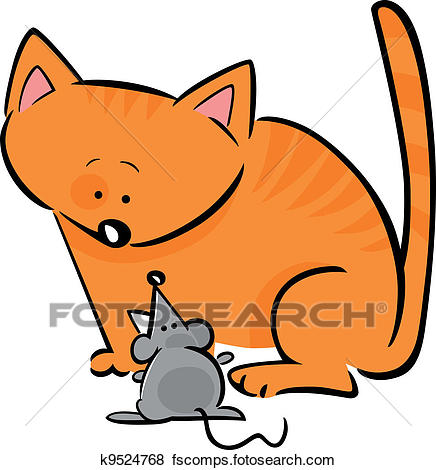 436x470 Clip Art Of Cartoon Doodle Of Cat And Mouse K9524768