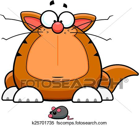 450x407 Clipart Of Cartoon Funny Cat With Toy Mouse K25701735