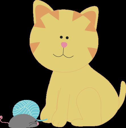 443x451 Elegant Cat Clipart Cat With Yarn And A Toy Mouse Clip Art Cat