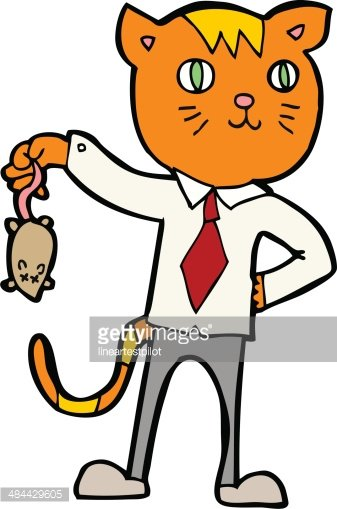 337x509 Cartoon Business Cat With Dead Mouse Premium Clipart