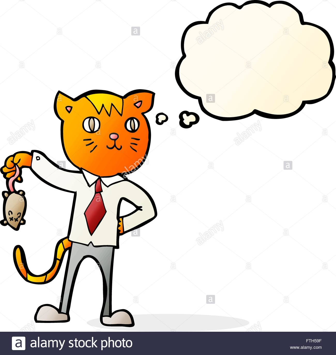 1300x1372 Cartoon Business Cat With Dead Mouse With Thought Bubble Stock