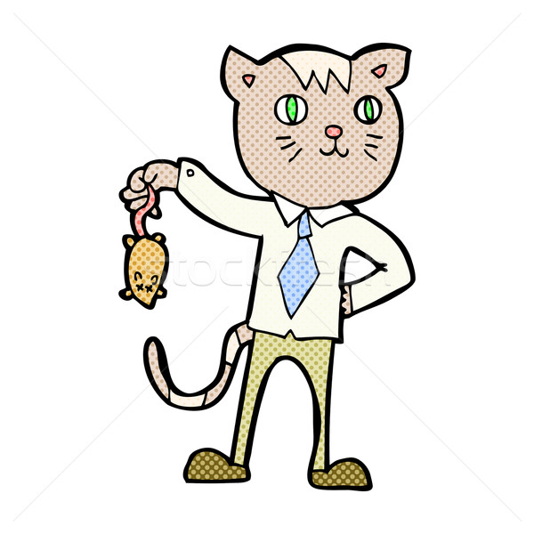 600x600 Comic Cartoon Business Cat With Dead Mouse Vector Illustration