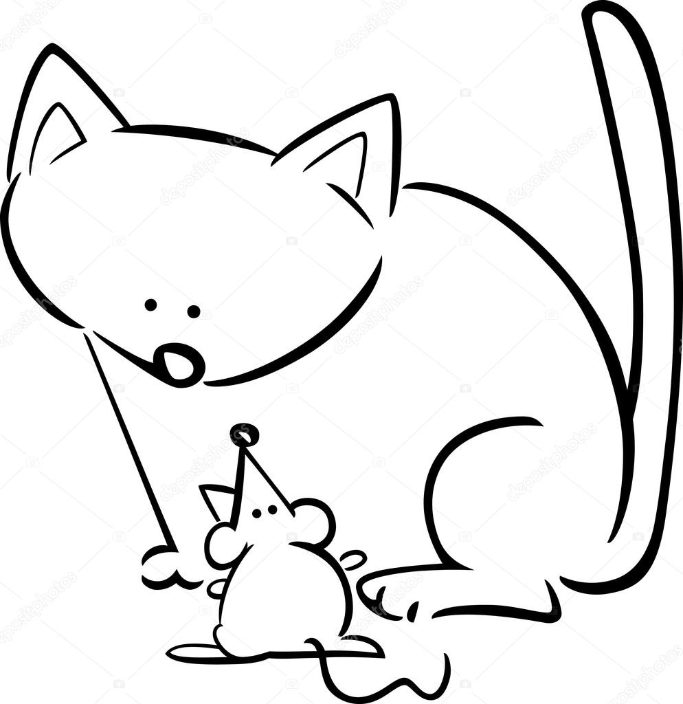 994x1024 Cartoon Doodle Of Cat And Mouse For Coloring Stock Vector
