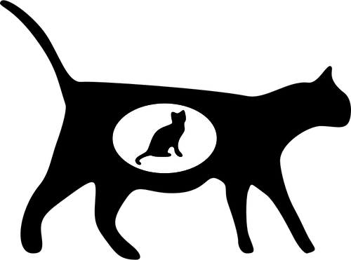 500x371 20037 black cat silhouette clip art free Public domain vectors