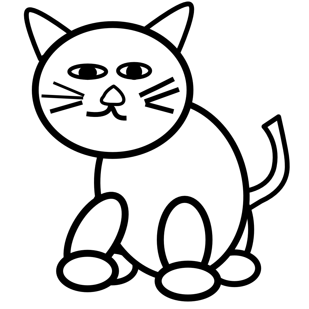 999x999 Cat clipart black and white clipart