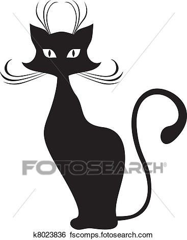 367x470 Clip Art of Black cat k8023836