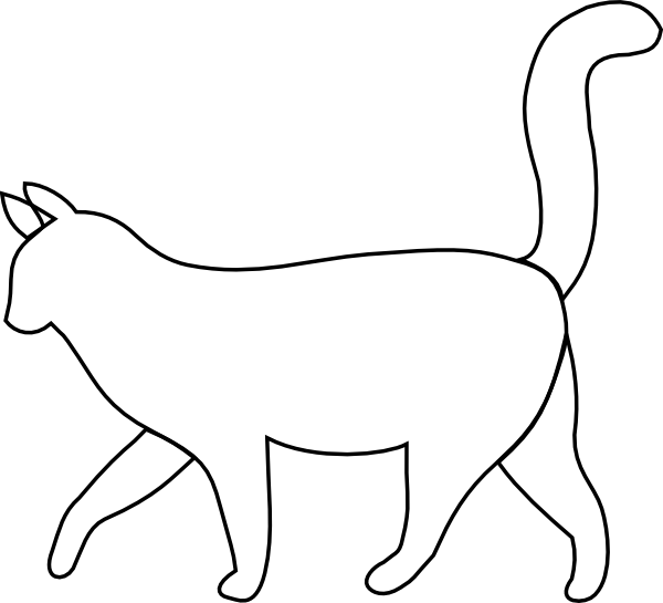 600x545 White Cat Outline Clip Art