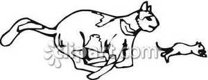 300x115 Cat Chasing Mouse Clipart