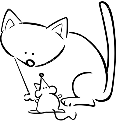 380x400 Cat And Mouse Clipart