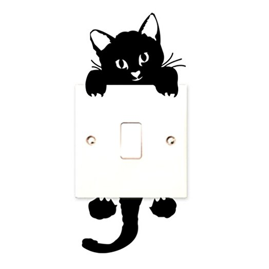 524x524 Switch Cat Wall Stickers Light Switch Decor Decals Art