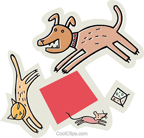 480x460 Dog Chasing A Cat, Chasing A Mouse Royalty Free Vector Clip Art