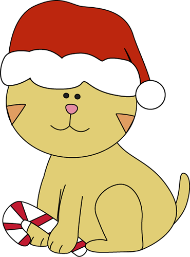 370x500 Christmas Cat With A Candy Cane Clip Art