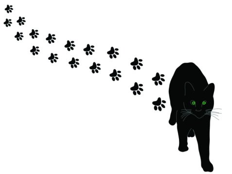 477x358 Black And White Pawed Cat Clipart