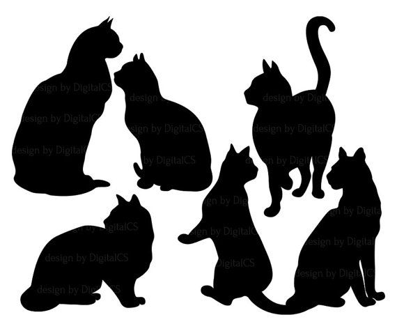 570x475 Cat Black And White Black And White Silhouette Cat Clipart