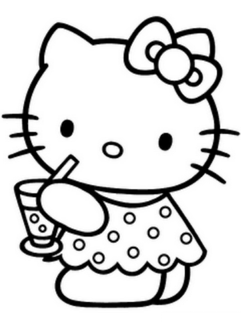 768x1024 Free Clip Art Of Hello Kitty Clipart 3 Black And White
