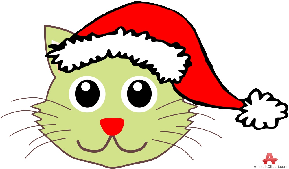 999x585 Cat With Christmas Santa Claus Hat Free Clipart Design Download