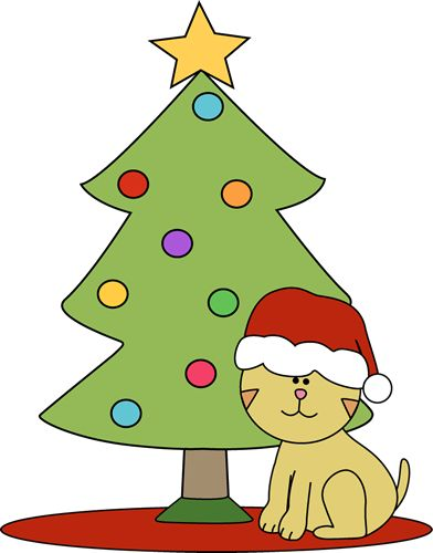 392x500 Christmas Cat Clipart