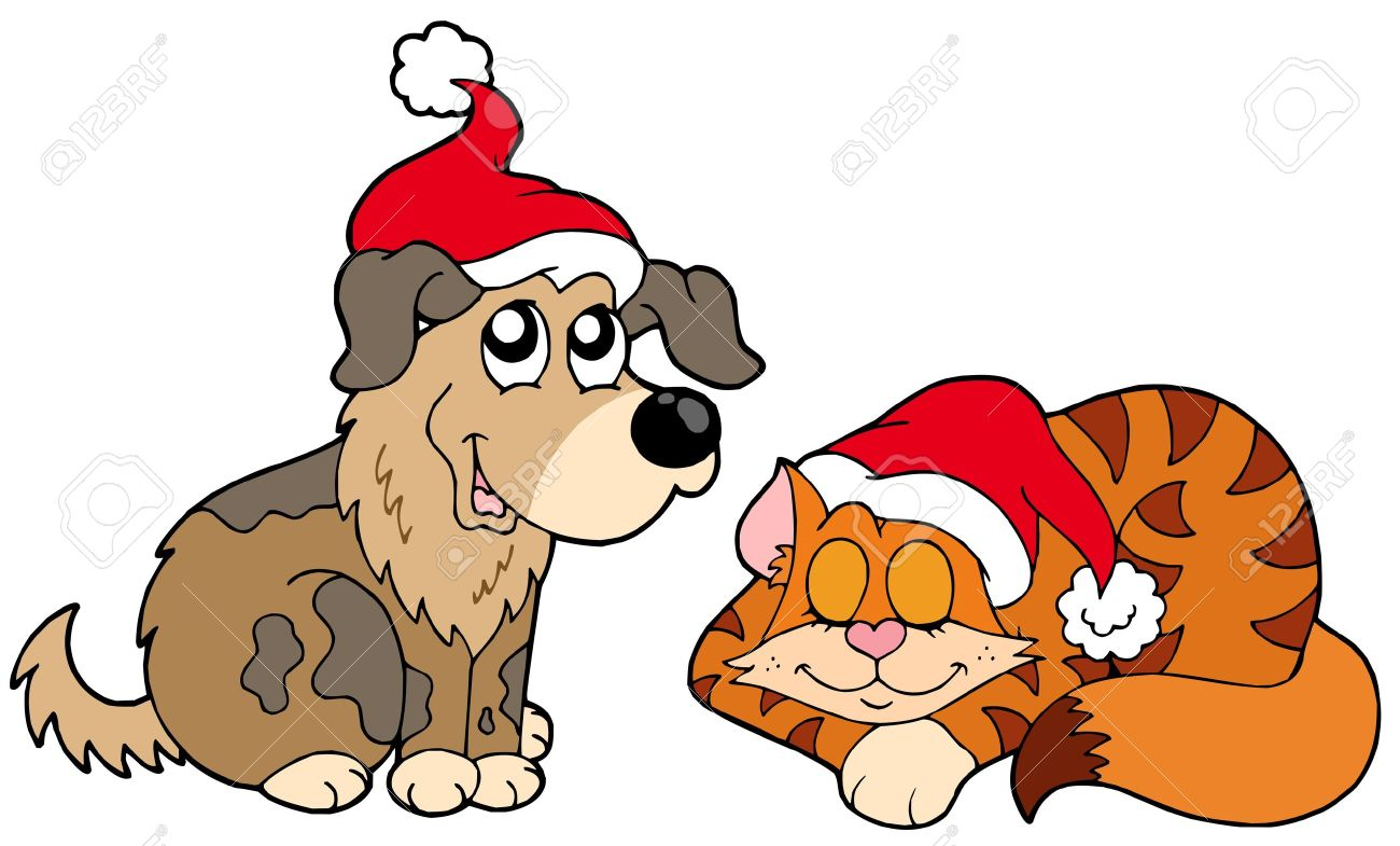 1300x785 Christmas Dog And Cat Clip Art Clipart