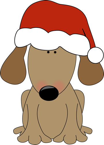 361x500 Dog Wearing A Santa Hat Clipart Winter And Christmas