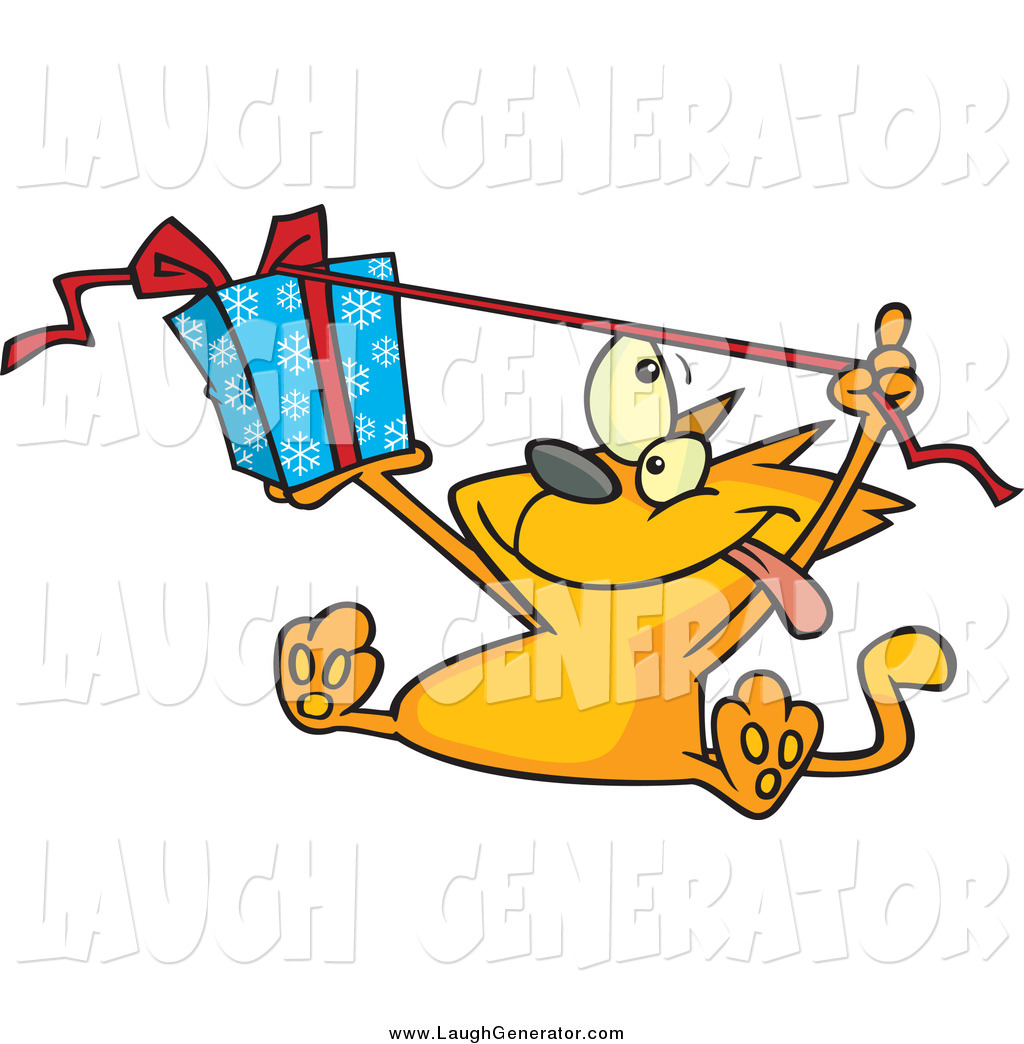 1024x1044 Humorous Clip Art Of A Ginger Cat Unwrapping A Christmas Present