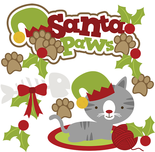 648x635 Santa Paws Svg Cat Clipart Cat Svg Cute Cat Clip Art Christmas Svg