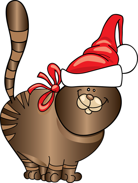 453x600 Cat Christmas Funny Clipart