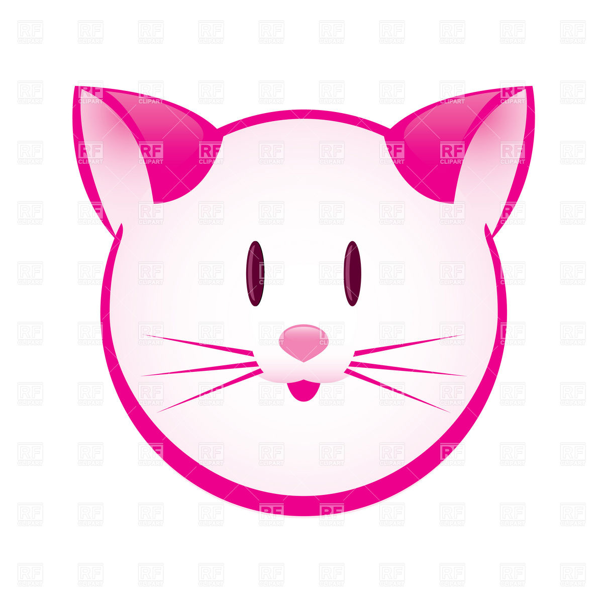 1200x1200 Cartoon Pink Kitty Face Royalty Free Vector Clip Art Image