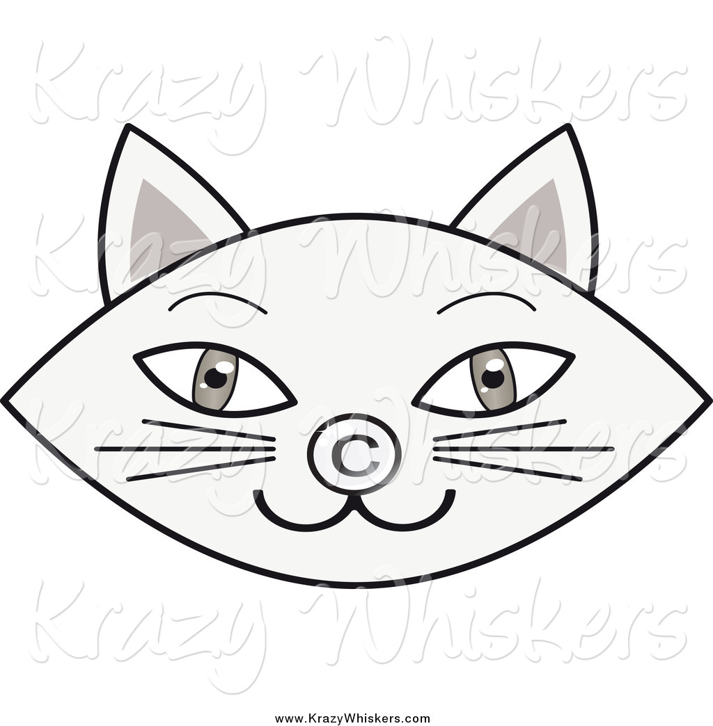 1024x1044 Critter Clipart Of A Gray Cat Face With A Copyright Nose By