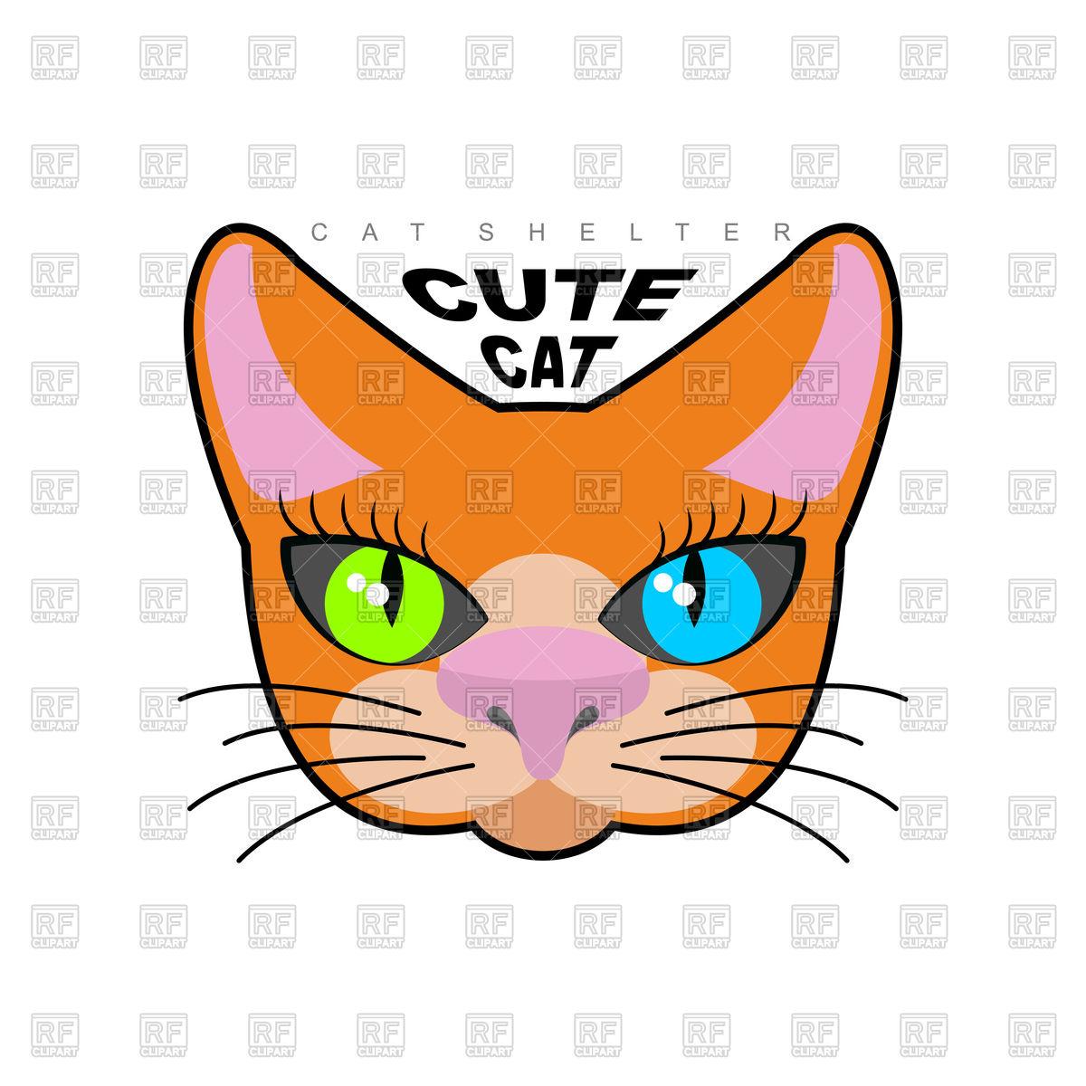 1200x1200 Cute Cat Face Royalty Free Vector Clip Art Image