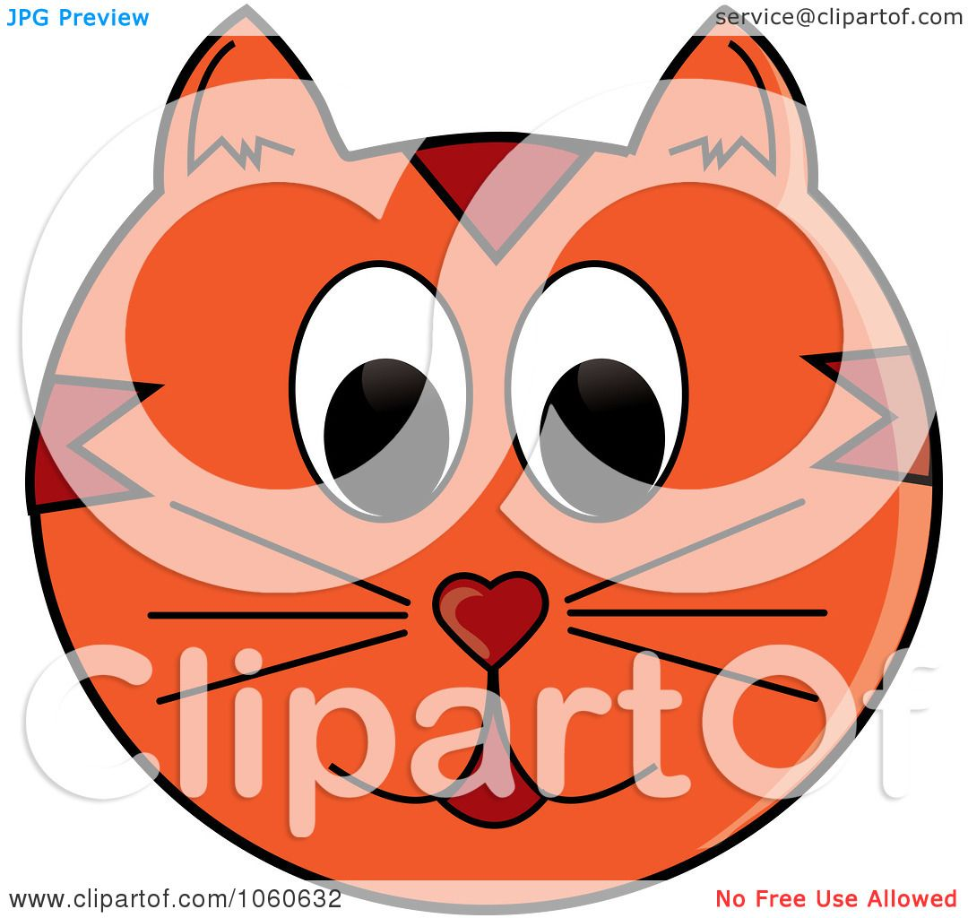 1080x1024 Royalty Free Vector Clip Art Illustration Of An Orange Cat Face By