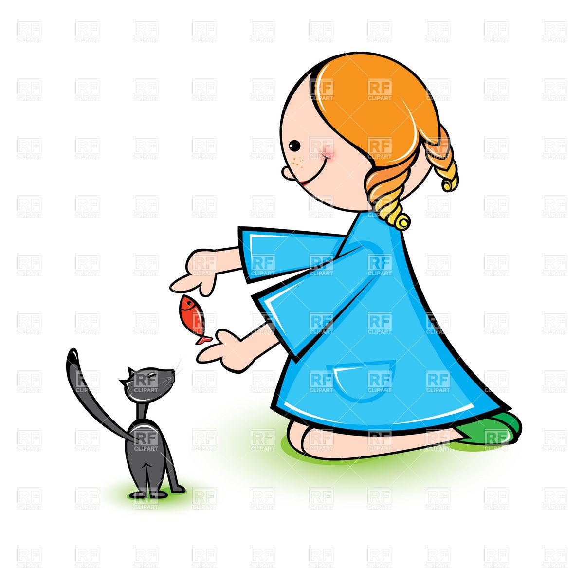1200x1200 Little Girl Feeding Kitty Royalty Free Vector Clip Art Image