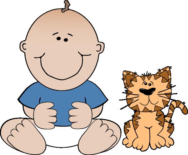 600x495 Boy With Cat Clip Art