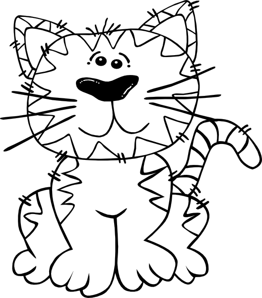 528x600 Cartoon Cat Sitting Outline Png, Svg Clip Art For Web