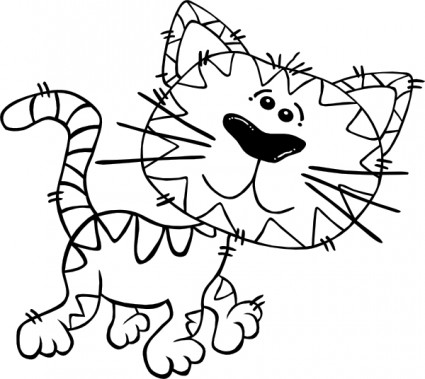 425x379 Cartoon Cat Walking Outline Clip Art Vector Clip Art Free Vector