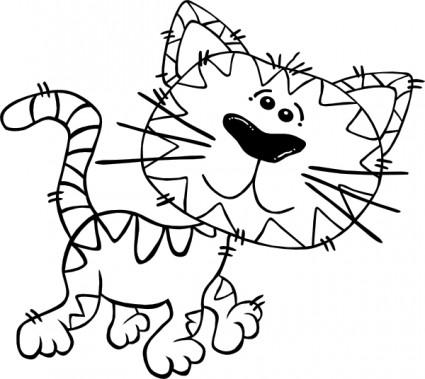 425x379 Cartoon Cat Walking Outline Clip Art Vector Clip Art Free Vector