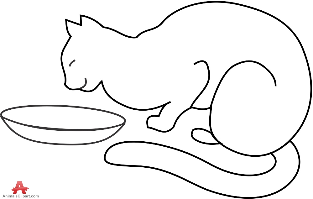 999x635 Cat Eating From Bowl Outline Clipart Free Clipart Design Download