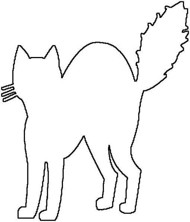 640x748 Halloween Cat Outline Clipart