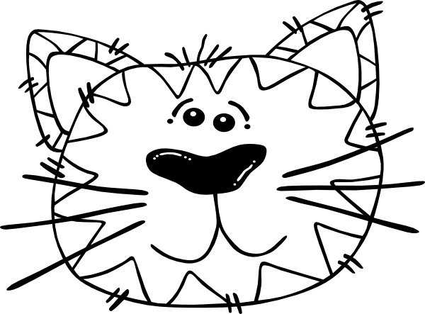 600x443 Cartoon Cat Face Outline Clip Art Free Vector In Open Office