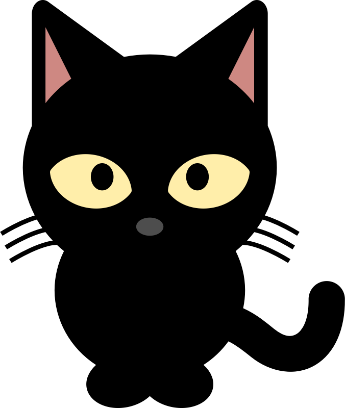 676x800 Cute Black And White Halloween Cat Clipart