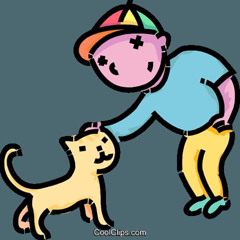 480x480 Boy Petting His Cat Royalty Free Vector Clip Art Illustration