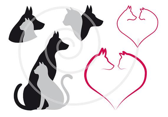 570x399 Cat And Dog Digital Clip Art Set, Pet, Animal Clipart, Heart