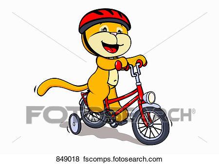 450x337 Clip Art Of A Cartoon Cat Riding A Bicycle 849018